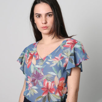 Blue Ruffled Blouse on Shoulder - O'Livia