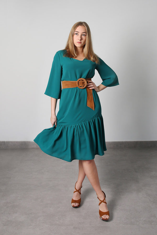 Green Flounc Dress - O'Livia