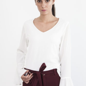 White long sleeve ruffle blouse - Fall/Winter Collection 2019 - o-livia.es