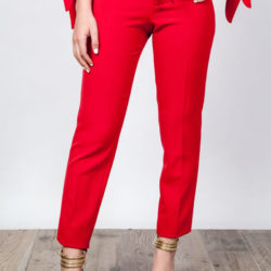 Skinny Pants with Belt Red O'Livia