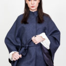 Blue wool cape O'Livia
