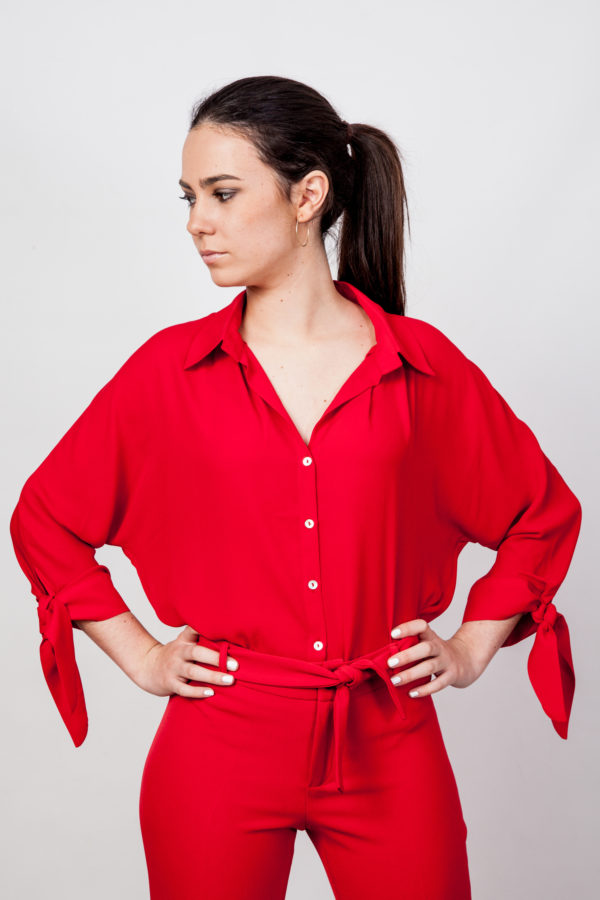 Bow Cuff Blouse Red O'Livia
