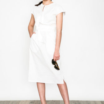 Bow Belt Dress White O'Livia