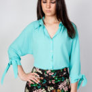 Bow Cuff Blouse Blue O'Livia