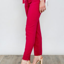 Crepe Skinny Trousers Navy Strawberry O'Livia