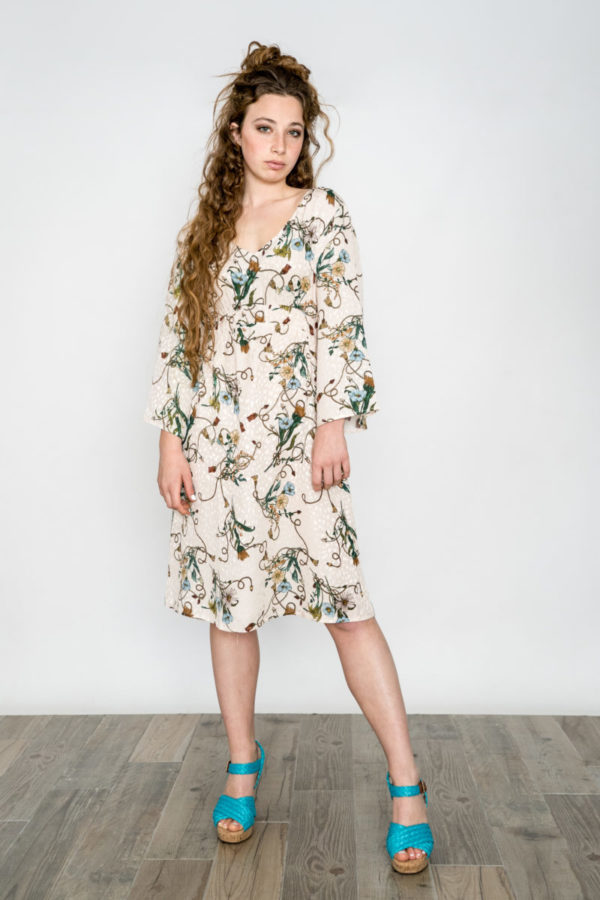 Printed Dress Beige O'Livia