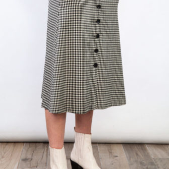 Plaid Button Skirt