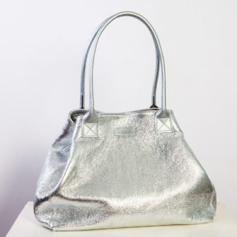Leather Metallic Bag Silver