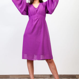 Puff Sleeve Plumeti Dress Purple