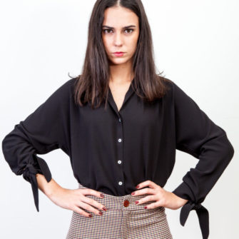 Long Bow Cuff Blouse
