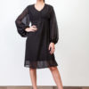 Puff Sleeve Plumeti Dress Black