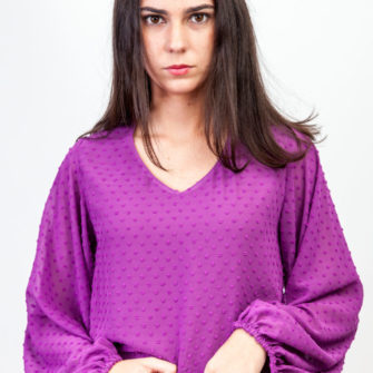 Puffed Plumeti Blouse Purple