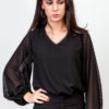 Puffed Plumeti Blouse Black