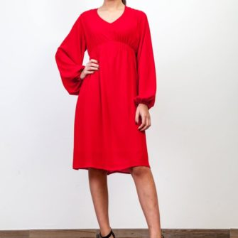 Puff Sleeve Dress Red