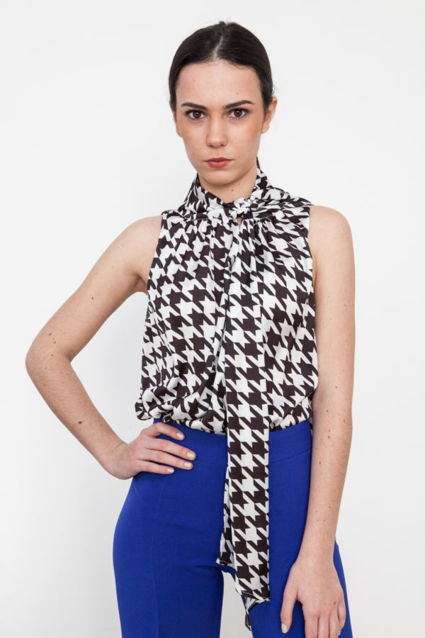 Printed Bow Blouse Black and White