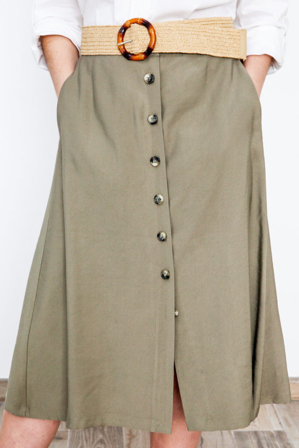 Buttons Midi Skirt Khaki