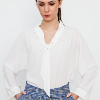 Bow neck blouse White