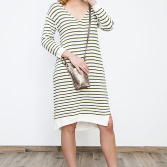 Striped Knit Dress Khaki