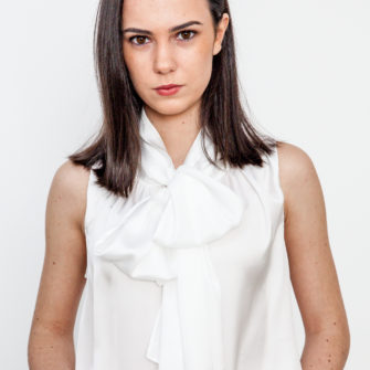 Satin Bow Blouse White